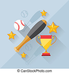 Illustration concept of baseball in flat design style.