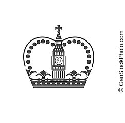 Concept of British Crown Isolated on White Background