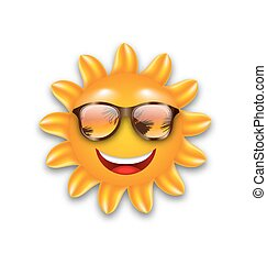 Concept of Funny Sun with Sunglasses, Isolated