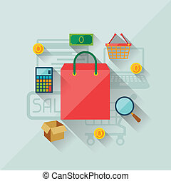 Illustration concept of internet shopping in flat design style.