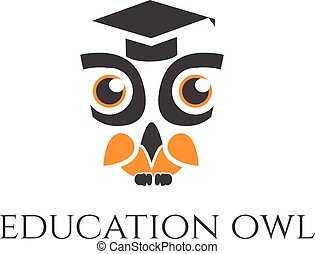 Illustration concept of owl in graduate hat . Vector
