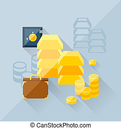 Illustration concept of precious metals in flat design style.
