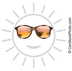 Concept of Smile Sun with Sunglasses