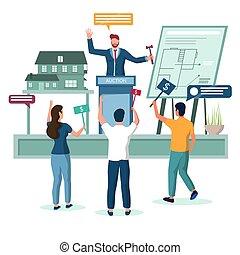 illustration, concept, propriété, enchère, maison, vecteur, vrai
