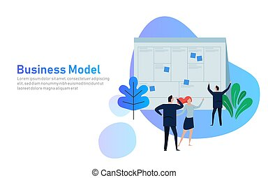 Illustration concept the man present with whiteboard business model canvas. illustration flat. team work together as corporation company plan written in large paper.