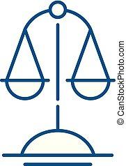 illustration., concept., vektor, jelkép, mérleg, igazság, egyenes, lakás, ikon, áttekintés, aláír