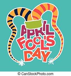 illustration., conception, avril, vecteur, fools, jour