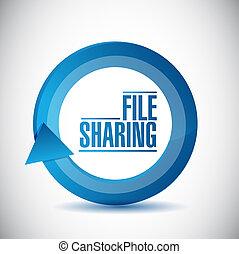 illustration, conception, cycle, partage, fichier