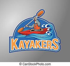 illustration, conception, kayakers, écusson