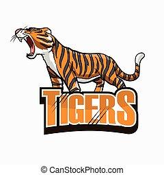 illustration, conception, tigre, coloré