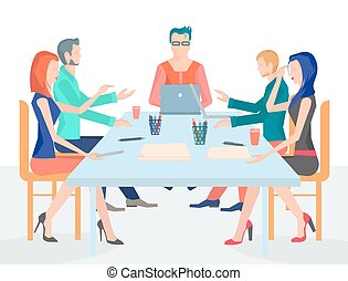 illustration conference business people with set of office accessories