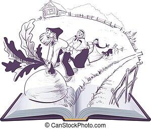 illustration, conte, livre, navet, russe, ouvert, dessin animé