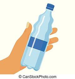 illustration., contenitore, puro, manifesto, flyer., fondo, mano, acqua, altro, vettore, opuscolo, bottiglia, water., bandiera, bere, plastica, presa a terra, liquids.