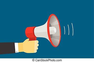illustration., contenuto, vettore, altoparlante, sagoma, voce, forte