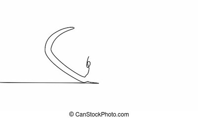 illustration, continu, main, dessiné, ligne, mignon, souris