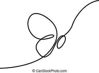 illustration., continu, une, vecteur, dessin ligne, butterfly.