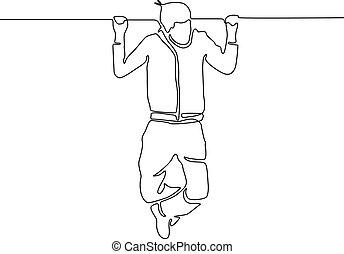 illustration., continuo, vector, ahorcadura, horizontal, hombre, línea, bar.
