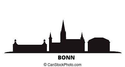 illustration., contorno, negro, aislado, ciudad, cityscape, ...