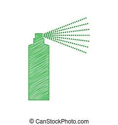 illustration., contour, solide, blanc, signe., icône, gribouiller, arrière-plan., bouteille, vert, pulvérisation