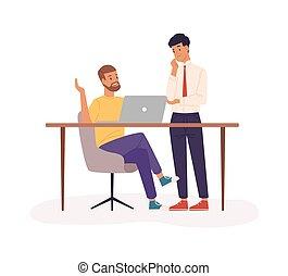 illustration., cooperazione, associazione, personale,...
