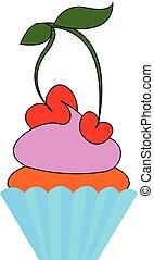 illustration., cor, cereja, ou, vetorial, bolo