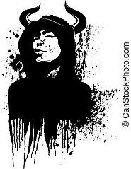 illustration., cor, horned, um, vetorial, homem, hood.