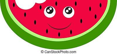 illustration., cor, ou, vetorial, gostoso, melancia