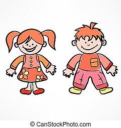 illustration., cor, vetorial, children., caricatura, feliz
