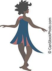 illustration., cor, vetorial, dançarino, étnico, senhora, ou