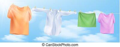 illustration, corde, laver, vecteur, clothespins., vêtements