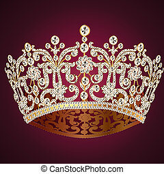 corona diadem feminine wedding on red - illustration corona...