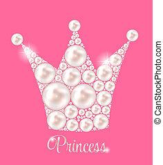 illustration., corona, perla, vettore, fondo, principessa