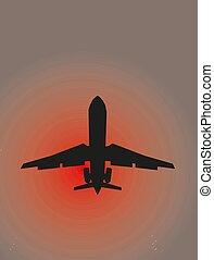 illustration, coucher soleil, eps10, avion, vecteur