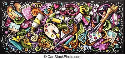 illustration., couleur, griffonnage, fourniture, artiste, arts visuels