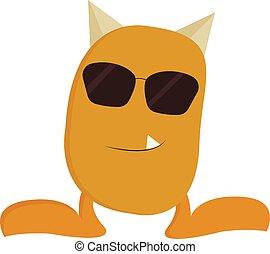 illustration., couleur, lunettes soleil, jaune, vecteur, cool-looking, ou, monstre