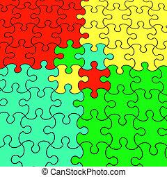 illustration, couleur, puzzle, 3d