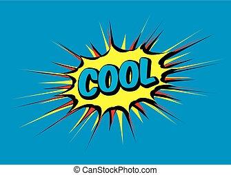 illustration., couleur, vecteur, parole, comique, bulle, cool.