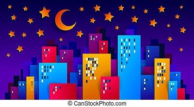 illustration, coupure, maisons, minimal, dessin animé, minuit, gosses, étoiles, cityscape, lune, vecteur, style, ville, moderne, urbain, mignon, vie, nuit, papier, jeu, conception, bâtiments, time.