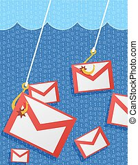 illustration, courrier, phishing