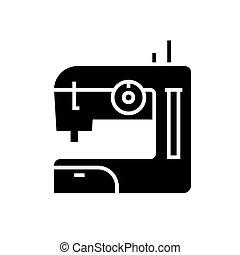 illustration, couture, isolé, signe, machine, vecteur, arrière-plan noir, icône