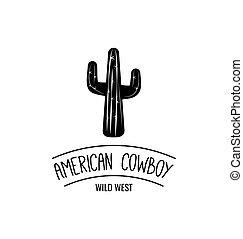 illustration., cowboy, west, amerikaan, vector, westelijk, label., wild, cactus.