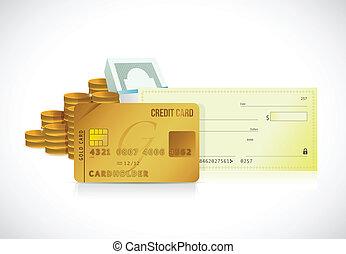 illustration, crédit, conception, carte, chèque, banque