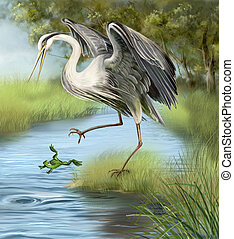 Illustration, crane hunting a frog in the water. - ...