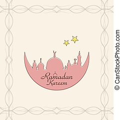 Creative Celebration Card with Architecture for Ramadan Kareem