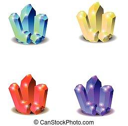 illustration, cristal, minéral, vecteur, elements., isolé, ensemble, collection.