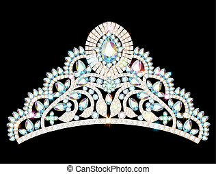 illustration crown diadem tiara women with glittering precious stones