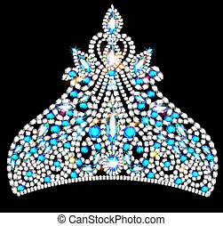crown tiara women with blue precious stones