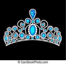illustration crown tiara women with glittering precious stones