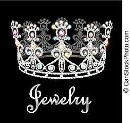 illustration crown tiara women with glittering precious stones