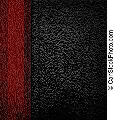 illustration., cuoio, vettore, nero, strip., fondo, rosso